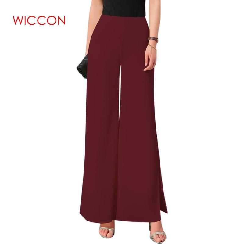WICCON New Women Ladies Vintage Loose High Waist Long Trousers Chiffon Side Split Casual Palazzo Pants Wide Leg Pants pantalones