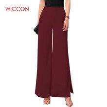 abc6a8854e021 WICCON nuevas señoras de las mujeres Vintage suelto alta cintura pantalones  de gasa lateral Palazzo Casual pantalones de pierna .