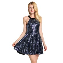 Backless Short Dress Women Glitter Dress Vestidos Noche Vieja Sexy Holiday Party Dress Ball Gown Halter Sequined Ladies Dress