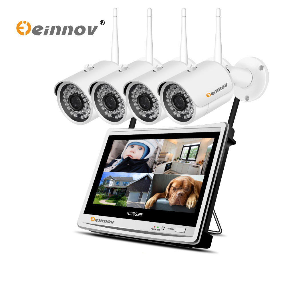 Einnov 4CH 1080P Wireless NVR Wifi CCTV System 12 LCD Monitor Screen 2MP Home Outdoor Security