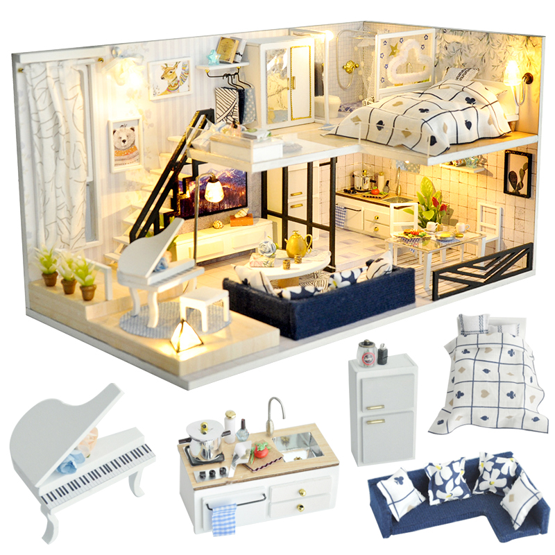Cutebee DIY House Miniature With Furniture LED Music Dust Cover Model Building Blocks Toys For Children Casa De Boneca TD32