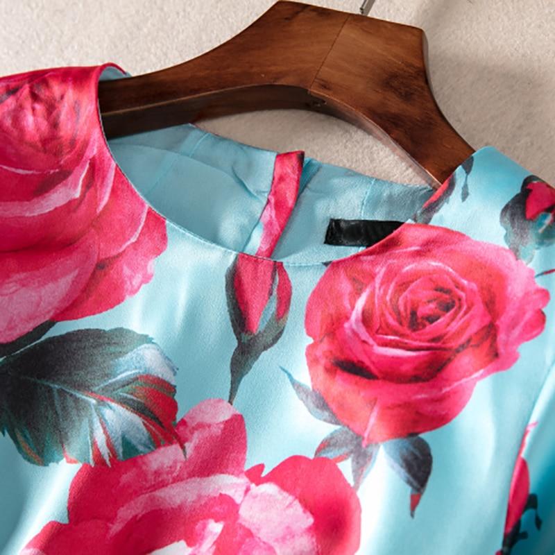 2018 Rose Mini Manches Qualité Haute Robe Imprimer De Genou Du Douce Quarts Trois Mode Luxe Dessus rqrSa