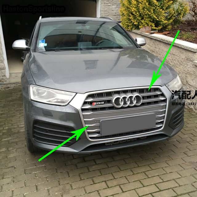 For Audi Q3 Modified Sq3 Style Front Hood Center Grille Grill Car Styling 2016 2017 2018 2019 Chrome Emblem