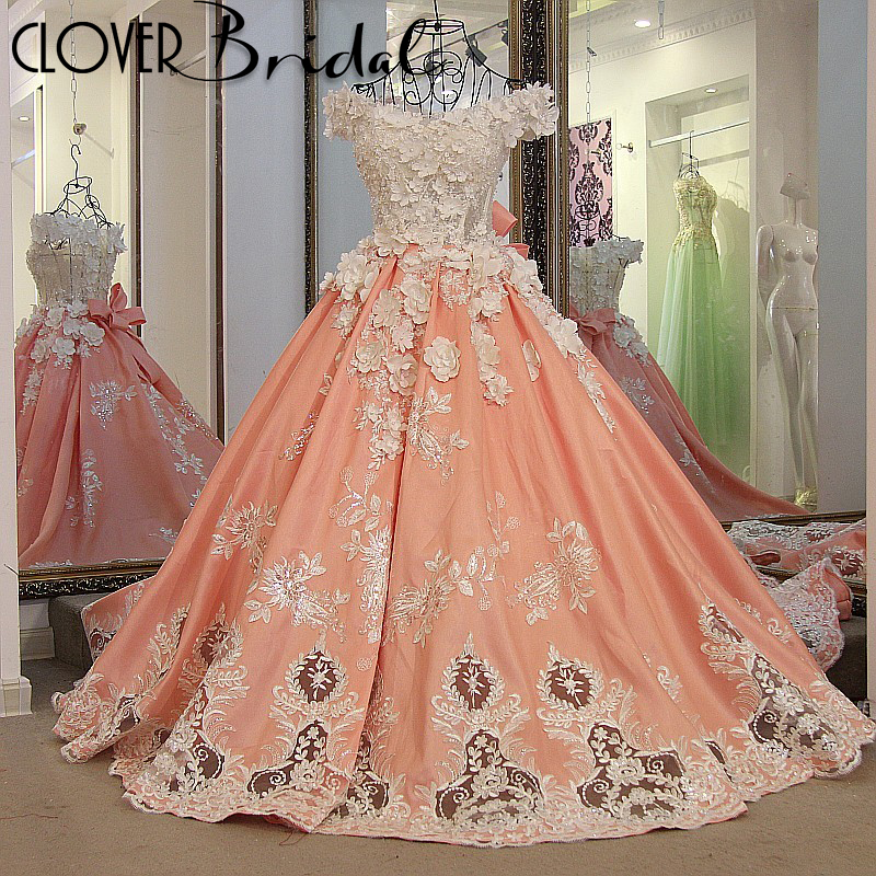 Real photos pearls beaded handmade flowers 50cm train orange satin ball wedding gown with big removable bow ribbons back
