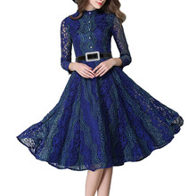 2017 Spring Summer Women Hihg Quality Lace Dress Hollow Out Contrast Color Dress Casual Full Sleeve Long Dresses with Belt AA482