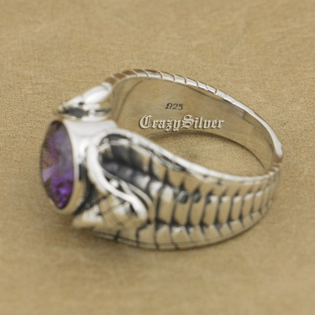 925 Sterling Silver King Cobra Snake Light Amethyst CZ Biker Rocker Punk Ring 9K033 US Size 8~14