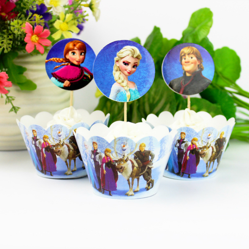 24pcs Frozen Elsa Anna Cupcake Wrappers and Toppers for Wedding Party Birthday Party Baby Shower Cake Decorations Party Supplies