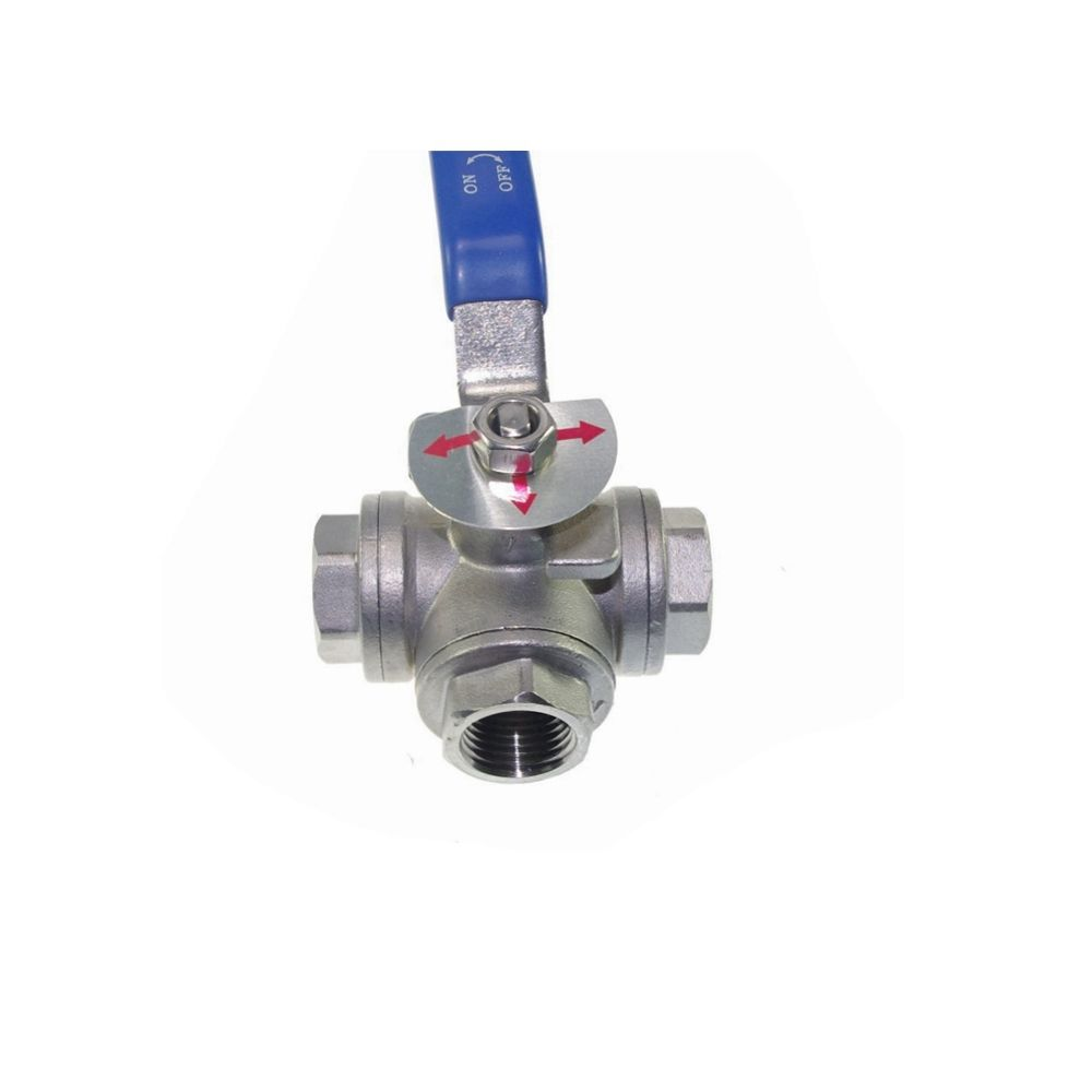 1pc DN50 G2 Female 3 Way T Port 304 Stainless Steel Ball Valve