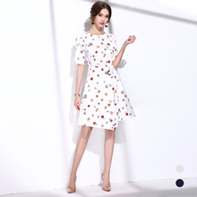 BURDULLY 2017 British style Big brand New Summer Fashion Women Tropical Swing A-line Dresses Elegant Fresh Floral Print Dress