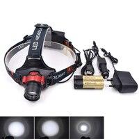 Outdoor LED Headlight XML T6 2000LM IR Sensor Headlamp farol de bicicleta 3 Mode pesca Head Light with 18650 Battery Charger