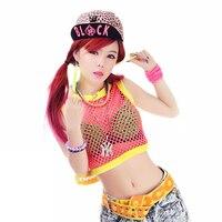 Women Casual Hollow Out Pink Sexy Sleeveless Crop Top Short Fishnet O Neck T Shirt 2015