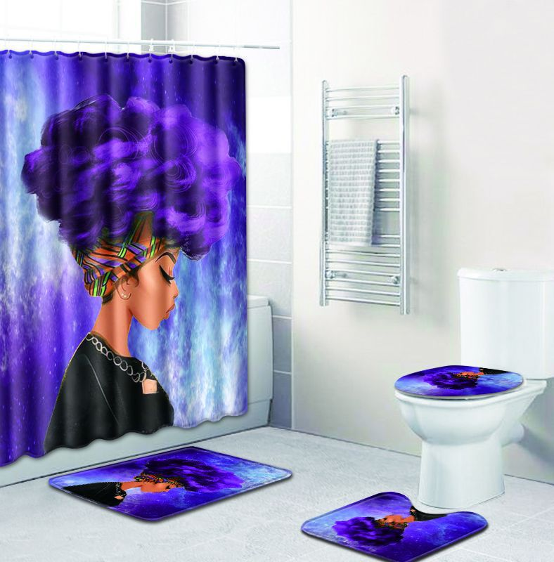 4pcs Set Egypt African Woman Bathroom Mat Set Non Slip