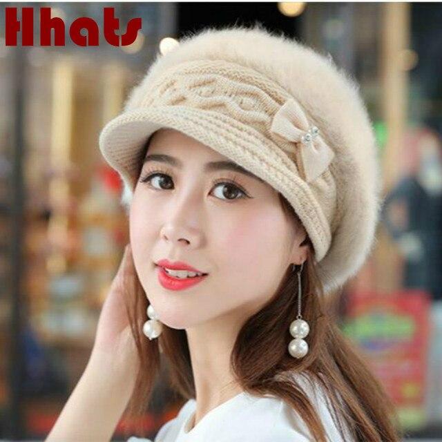 Moda de piel de conejo sombrero sólido exterior gruesa caliente invierno  newsboy sombrero primavera otoño mujer 1574d72113b