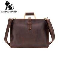 Luxury Crazy Horse Leather Slim Messenger Bag Genuine Leather Shoulder Bag For Men Leather Briefcase 91405