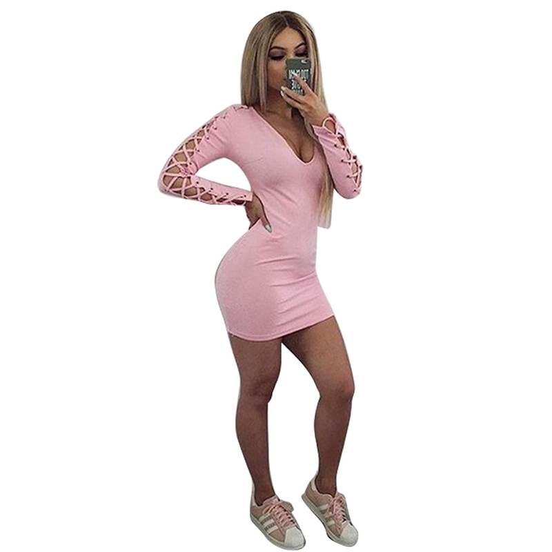 Sexy Women Dress Party Dresses Long Sleeve Hollow Out  Bodycon Dress Mini Solid Women Clothing LJ5636T