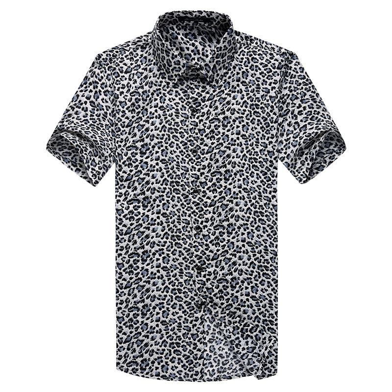 Summer New Fashion Leopard Shirt Men Short Sleeve Leopard