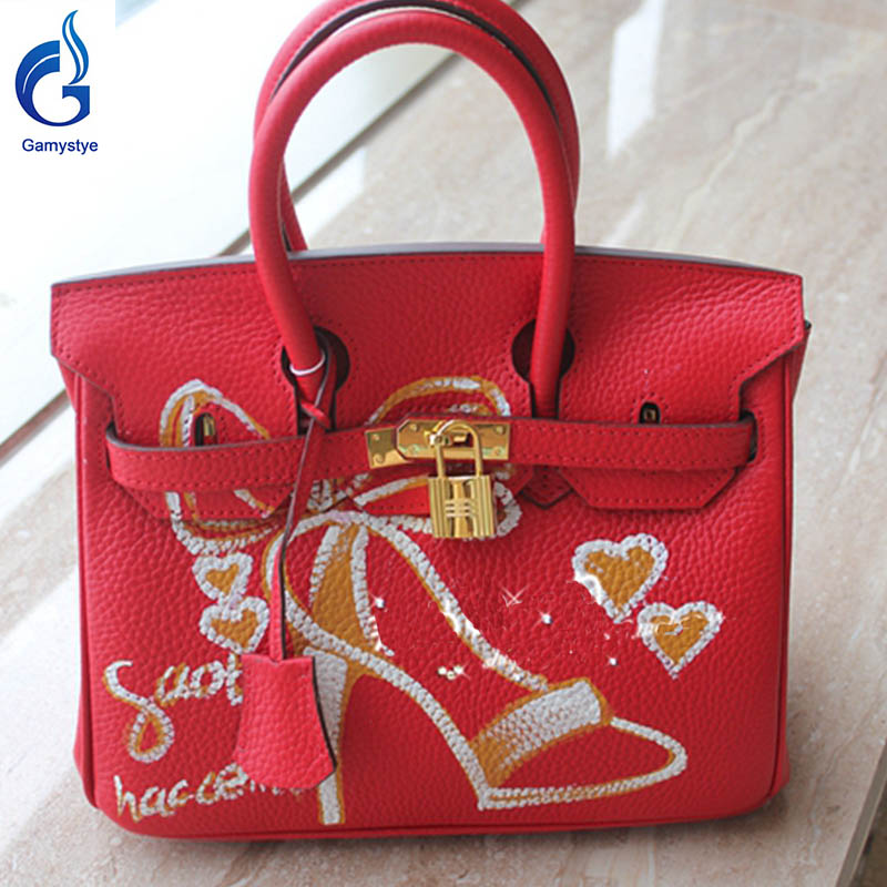 High-heeled shoes handbag Genuine Leather women famous  Messenger Bag Hand Painted Custom painting ladies totes handle clutch YG high quality authentic famous polo golf double clothing bag men travel golf shoes bag custom handbag large capacity45 26 34 cm