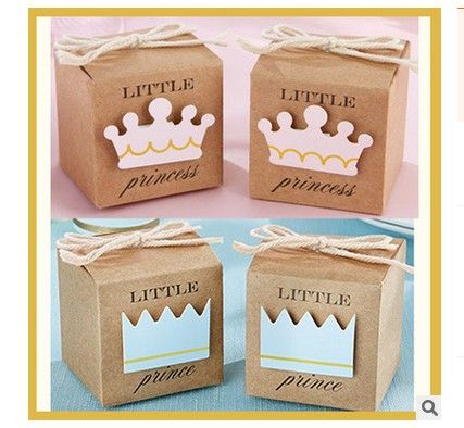 Free Shipping 100pcs Little Prince/Princess Candy Box Kids Birthday Party Gift Box Party Favor Supply