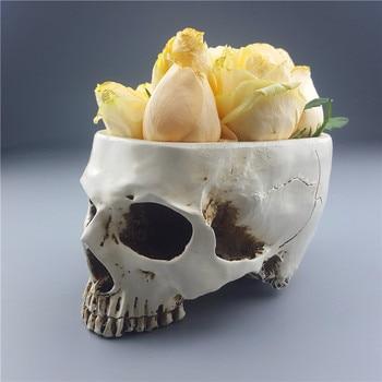 2018 Hot Sale Mrzoot Skull Flower Vase Gothic Resin Head Fruit Plate Container Storage Tank Macetas Human Garden Pots Ashtrays