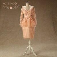 Rosa Moda Maniche Lunghe Peach Prom Dress V Neck Breve Prom Dresses con Fiori Formale Vestiti Da Partito 2018