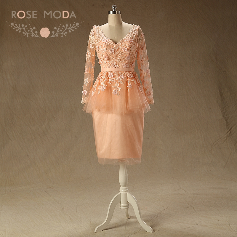 Rose Moda Long Sleeves Peach Prom Dress V Neck Short Prom Dresses