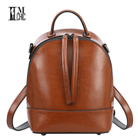 Vintage Oil Wax Split Leather Cowhide Women Backpacks Tassel Design Ladies Travel Backpack School Preppy Stylish