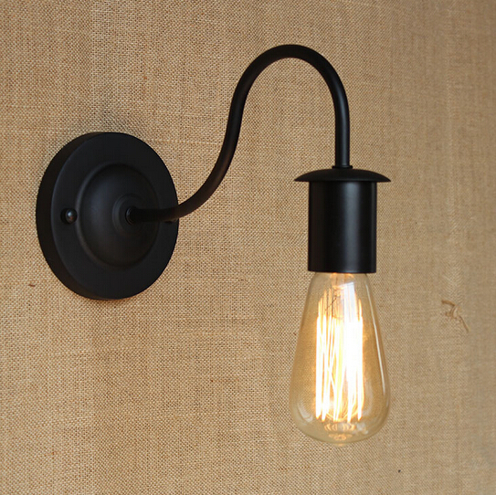 Simple & Modern Industrial Vintage Black Iron Wall Lamp Loft Style Curve Arm Hallway Retro Wall Light Free Shipping