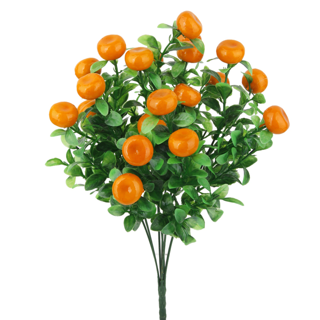Party Supplies Artificial 7 Branch Lucky Fruit Orange Bunch Fake Plant Office Decoration Home