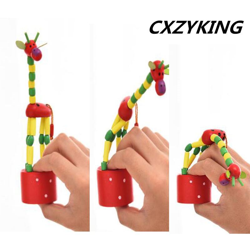 CXZYKING 1PCS Wooden Hand Bell Baby Animal Shaped For Baby Organic Wood Beads Baby Rattle Stroller Accessories Toys