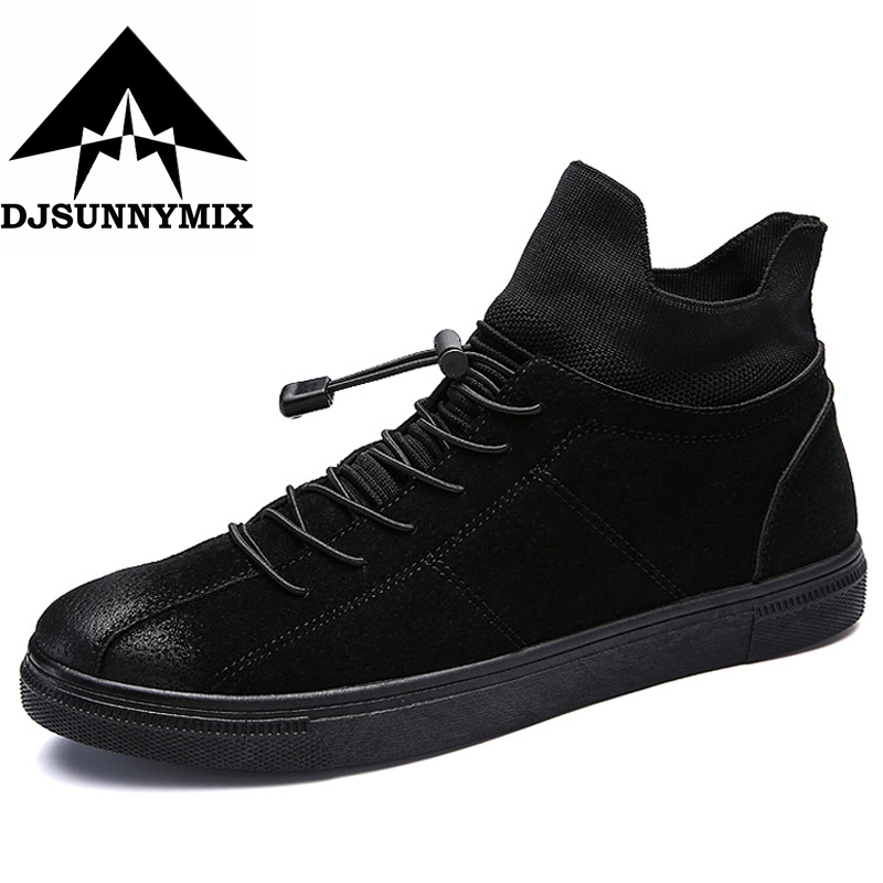DJSUNNYMIX Brand Men Skateboarding Shoes Lace Up Skateboard Sneakers high-top Flat Shoes Mens Sports Shoes