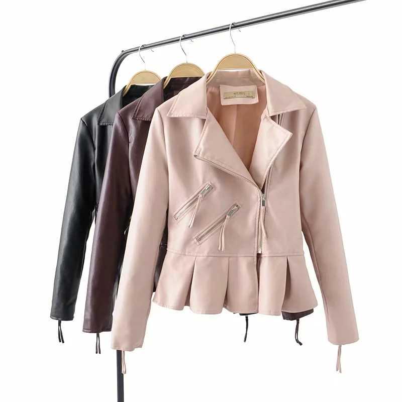 Womens Ladies Leather Biker Jacket Ruffle Zip Blazer Coat Bomber Jackets Outwear
