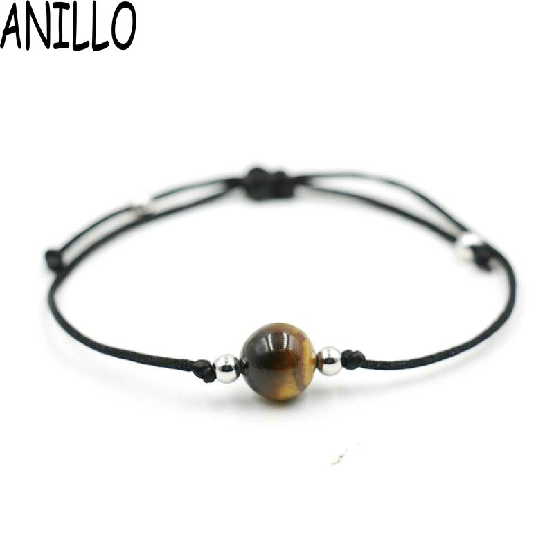 ANILLO Women Red Black Rope Thread String Bracelet Natural stone Lucky Braided Charms Adjustable Bracelet