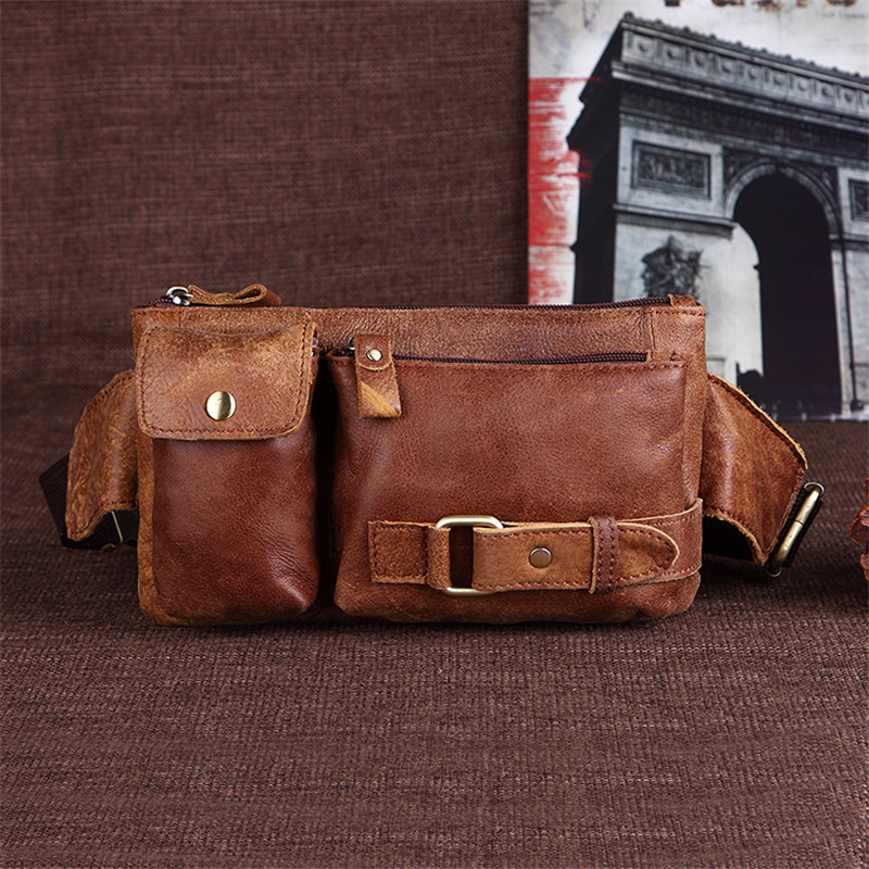 Nesitu High Quality Brown Coffee Vintage 100% Guarantee Real Skin Genuine Leather Men Waist Bags Women Cowhide #M8135 stylish zinc alloy cowhide waist decoration keychain brown coffee