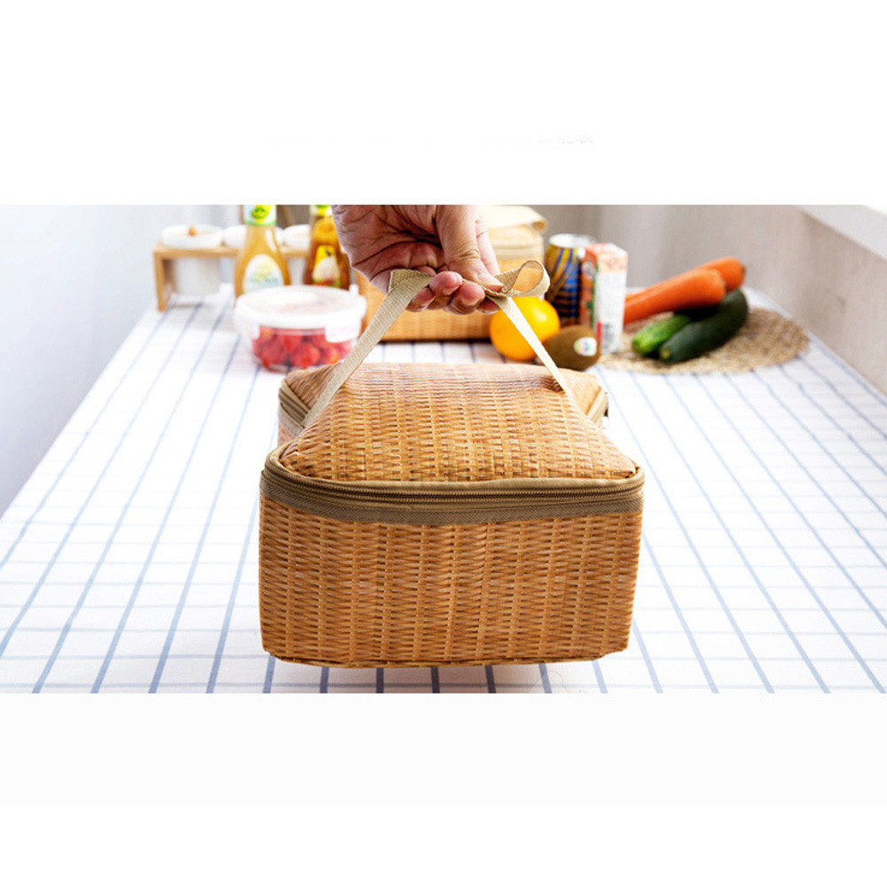 Portable Insulated Thermal Cooler Lunch Box Tote Storage Bag Picnic Container Storage Box Tote Lunch Bag A7623 striped tote lunch bag