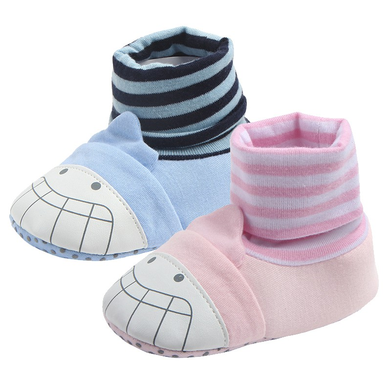 Newborn Baby Shoes Stockings Cartoon Striped Baby Boy Shoes Fashion Cotton Slip Non-Slip First Pacers Girl Princess Baby Shoes