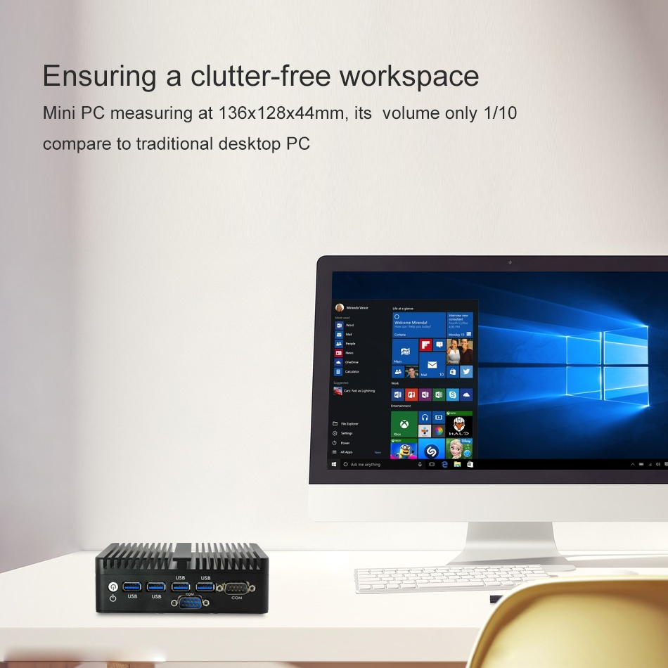 Image 4 - Промышленный мини компьютер Intel Celeron 2955U Windows 10 Linux без вентилятора, микро ПК 2 * HDMI 2 * Gigabit LAN 2 * RS232 WiFi 4 * USB3.0 HTPC-in Мини-ПК from Компьютер и офис