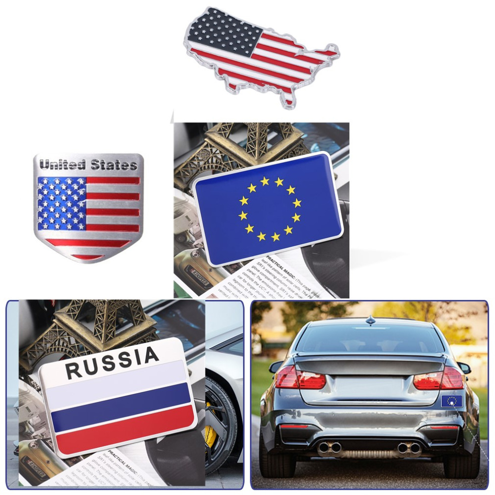 3d aluminum russia flag car sticker accessories car for Automobile decoration accessories