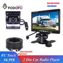 """Podofo Vehicle Backup Reverse Camera 4 pin Connector IR Night Vision 7"""" LCD Color TFT Rear View Monitor for Bus Truck RV Trailer"""