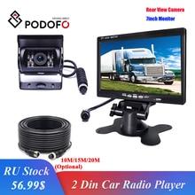 "Podofo Voertuig Backup Reverse Camera 4 Pin Connector Ir Nachtzicht 7 ""Lcd Kleuren Tft Rear View Monitor voor Bus Truck Rv Trailer"