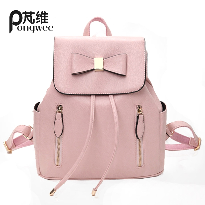 PONGWEE 2017 Girl Schoolbag Travel Bag Solid Candy Pink Waterproof Backpack Women Leather Backpack Bolsas Mochila Feminina Large  new women leather backpack black bolsas mochila feminina girl schoolbag travel bag solid candy color green pink beige