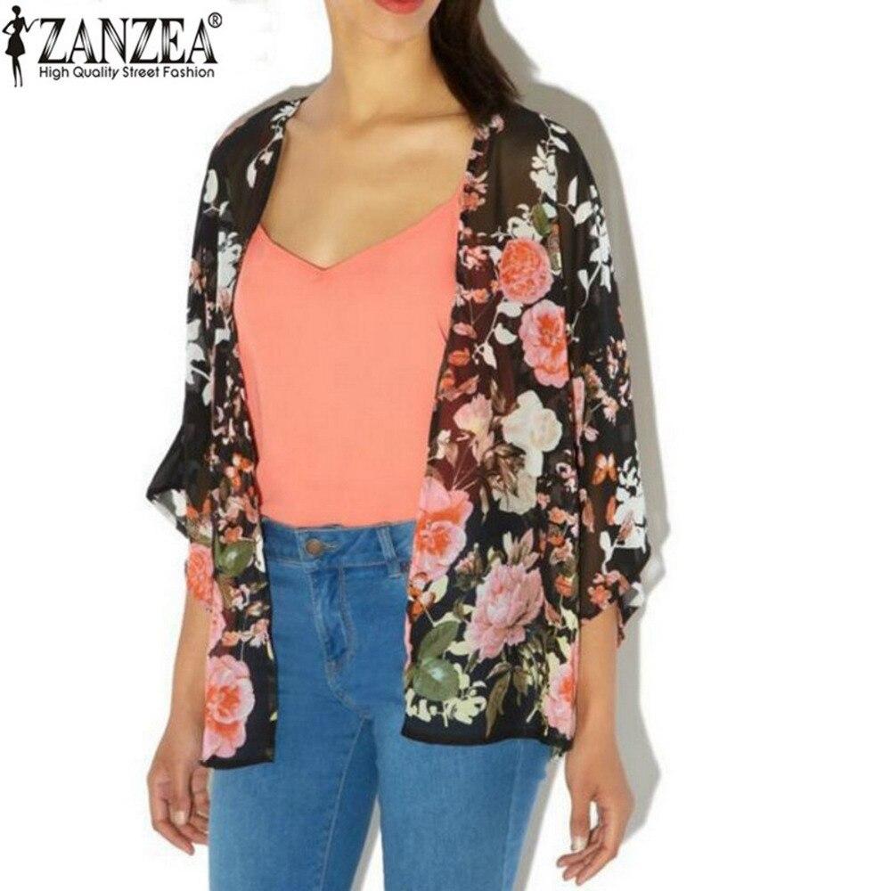 Zanzea Kimono Cardigan 2016 Summer Sexy Women Blusas Casual Loose Chiffon Tops Vintage Floral Printed Blouse Shirt Plus Size