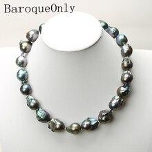 Collar barroco negro con cadena de perlas naturales, collar largo gargantilla 45/50/55 AAA para niña, regalo, joyería para fiesta