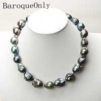 Echt Riesige Natürliche perle schwarz barocke perle kette halskette halsband lange halskette 45/50/55 AAA für mädchen geschenk partei schmuck Neue