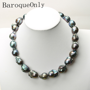 Image 1 - Real Huge Natural pearl black baroque pearl chain necklace choker long necklace 45/50/55 AAA for girl gift party  jewelry New