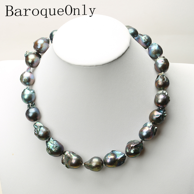 Real Huge Natural pearl black baroque pearl chain necklace choker long necklace 45/50/55 AAA for girl gift party  jewelry New