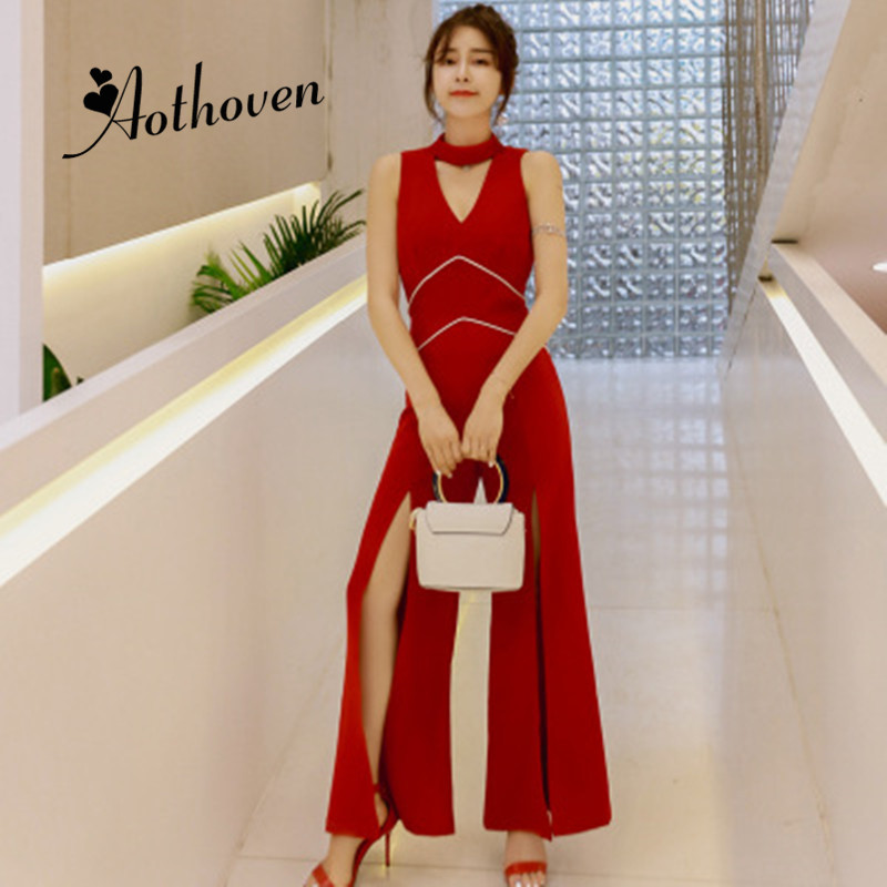 Summer Office Red Stand up Collar Hollow Out Sleeveless Jumpsuit Women Long Pants Trousers Sexy Lady