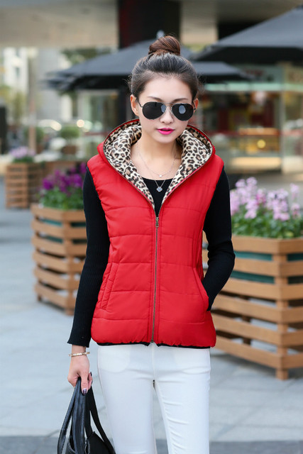 New Fashion Cotton Hooded Women Jacket Winter Cotton Vest Ladies Short Slim Padded Leopard Sleeveless  Coat Chalecos Mujer Z14