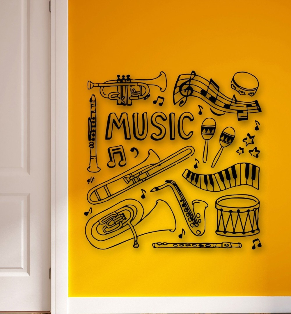 MUSIC Vinyl Wall Decal Musical Instruments Drum Music Sheet Mural ...