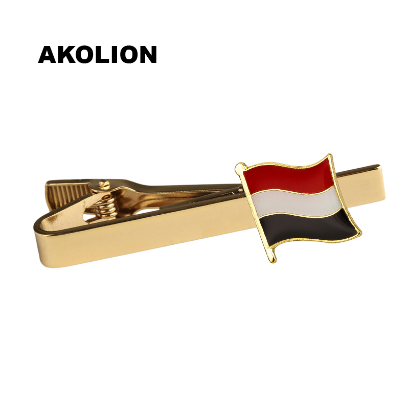 Yemen Country Flag Metal Tie Clip Tie Pin For Men Gift Tie bar Fashion Jewelry 100pcs                              KS-0200