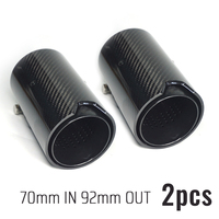 2pcs 70MM All Black Carbon Fiber Exhaust Tip Muffler Glossy For BMW exhaust pipe upgrade M2 F87 M3 F80 M4 F82 F83 M5 F10 M6